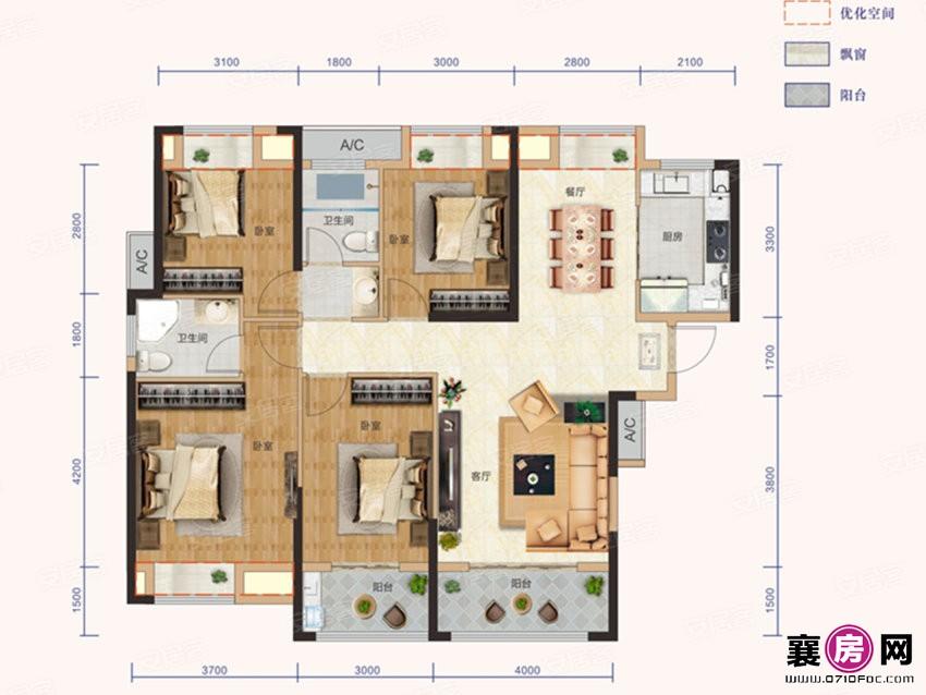 B1户型  4室2厅