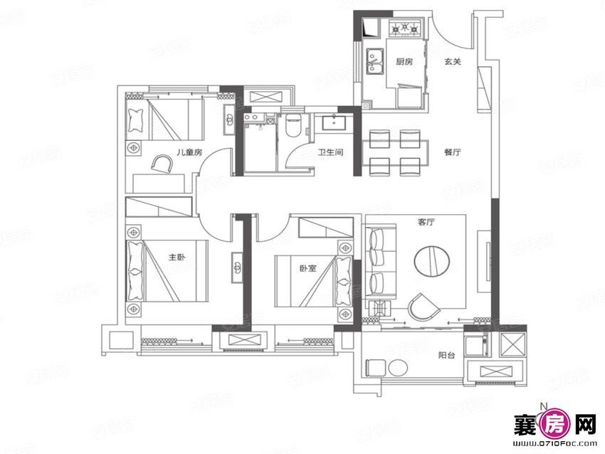 98户型  3室