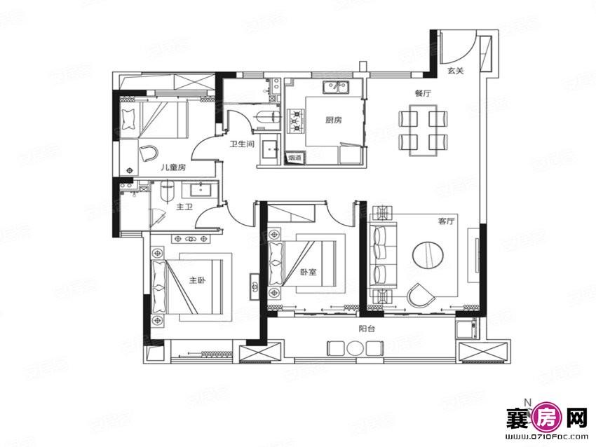 118户型  3室