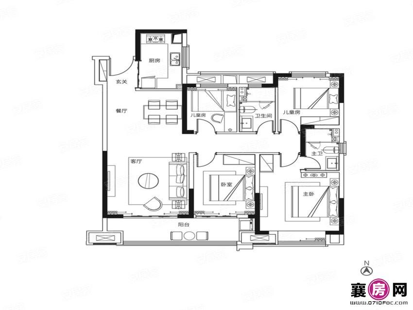 130户型   4室