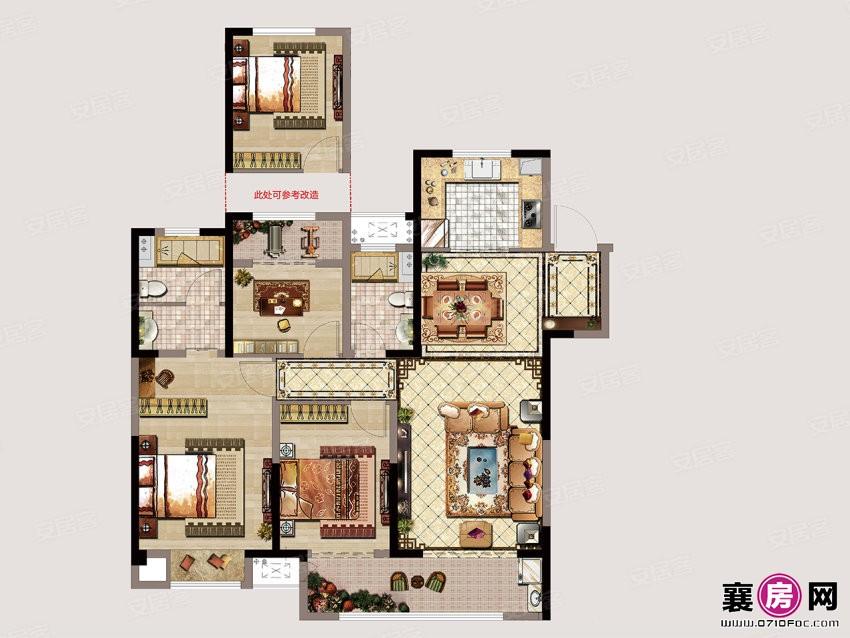 B  3室2厅2卫