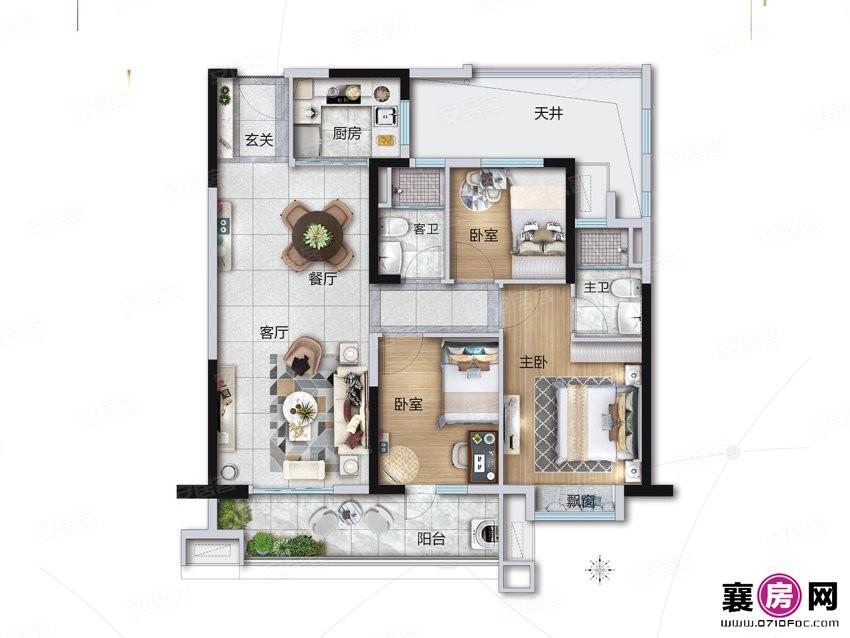 YJ100户型  3室2厅