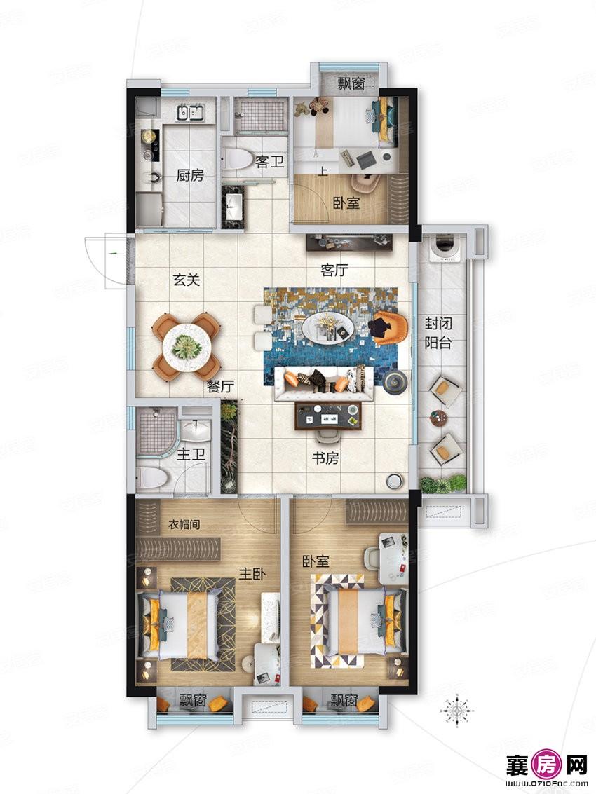 YJ125户型  3室2厅