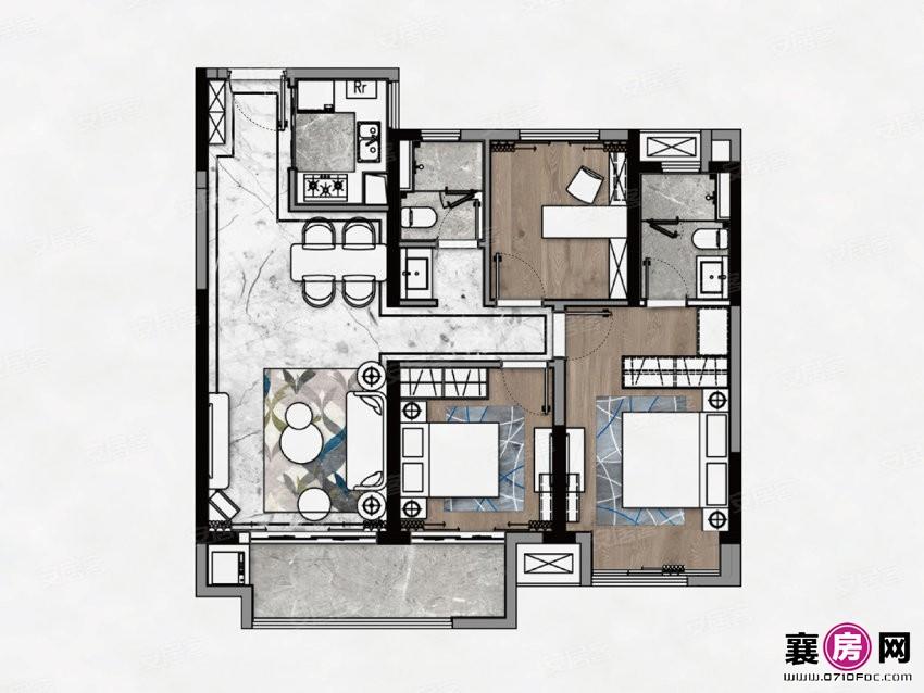 C户型  3室2厅2卫
