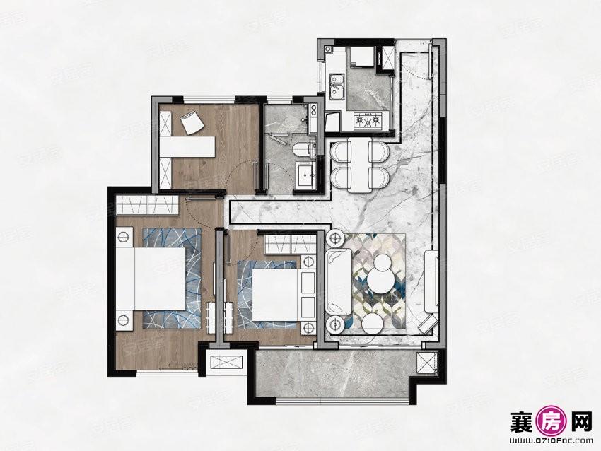 B户型  3室2厅1卫