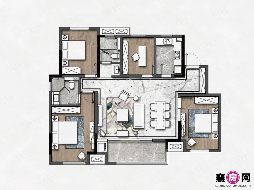 E洋房户型  4室2厅