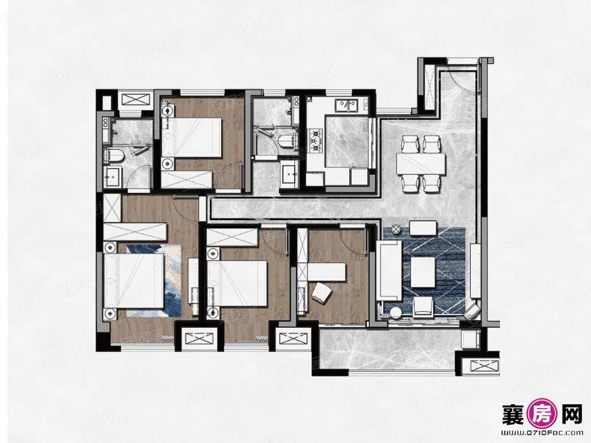 A户型  4室2厅2卫
