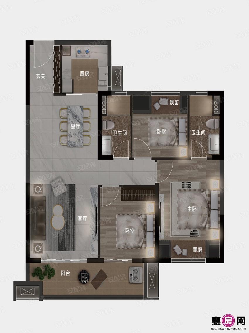 107㎡户型  3室2厅