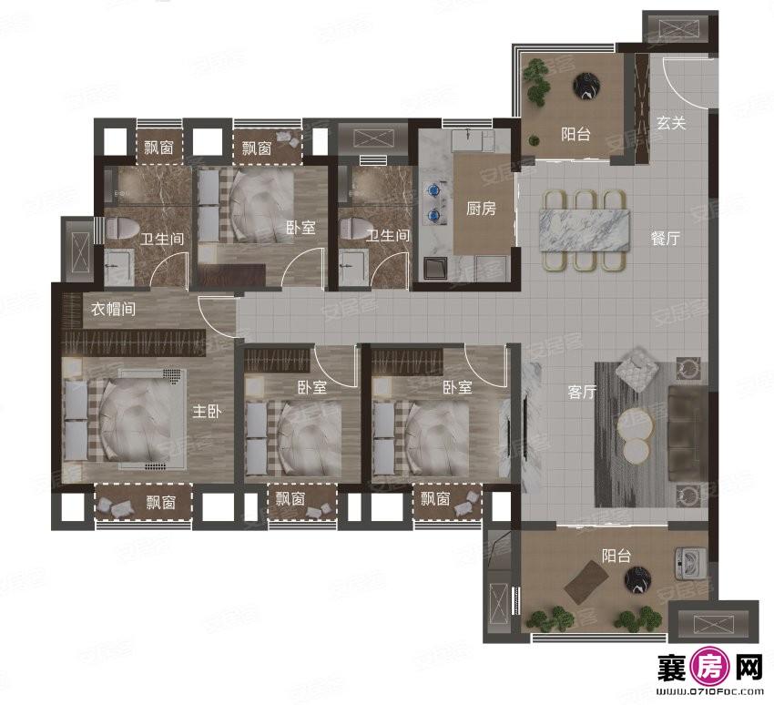 142㎡户型  4室2厅