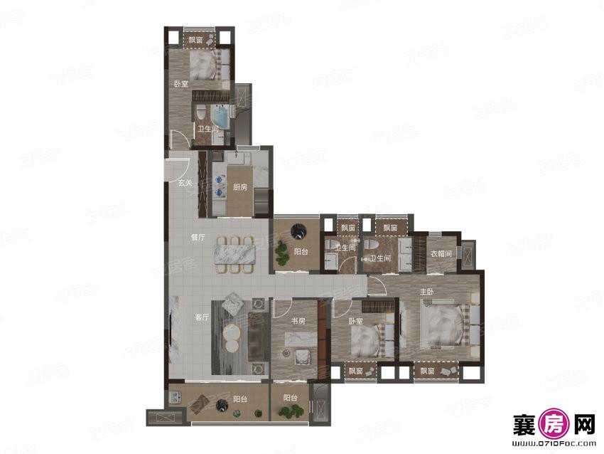 167㎡户型  4室2厅