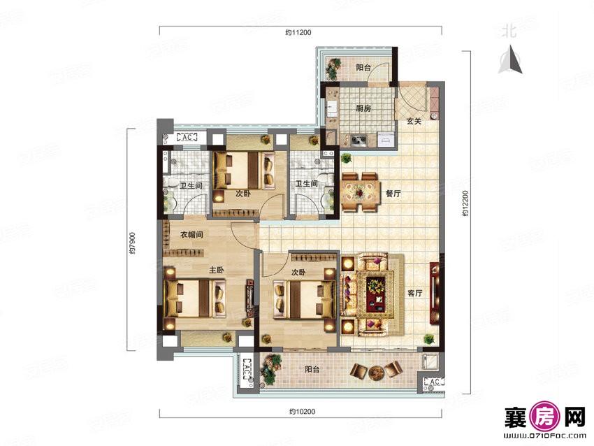 雅仕E户型 3室2厅2卫