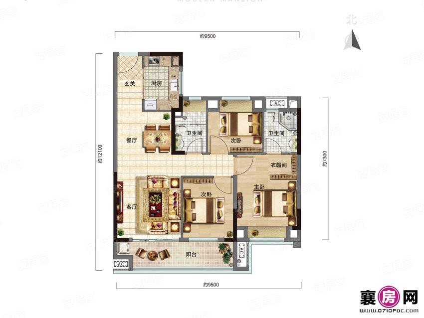 花漾B户型   3室2厅2卫